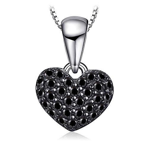 JewelryPalace 0.14ct echte Spinell Liebe Herz Anhänger Halskette 925 Sterling Silber 45 Cm
