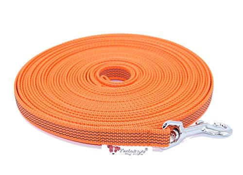 Twinkys Dog Style Made IN Germany Schleppleine Hundeleine gummiert 15 mm breit für Hunde bis 50 kg - MIT Handschlaufe 10 Meter Orange