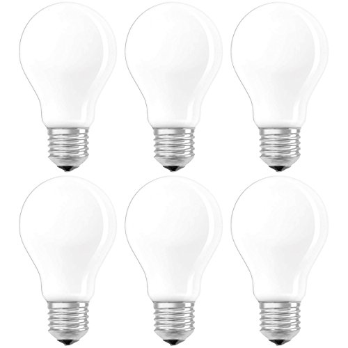 Osram Ampoule LED Filament, Forme classique, Culot E27, Dimmable, 5W Equivalent 40W, 220-240V, dépolie, Blanc Chaud 2700K, Lot de 6 pièces