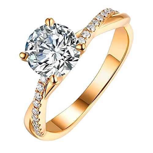 Zirkon Ring Eternity Ring Gold Silber Strass Ringe Zirkonia Frauen Ewigkeitsringe Silberring mit Stein Verlobungsringe Paar Eheringe Paarpreis Günstig Memoire Ring Diamant Damenring Edelstahl