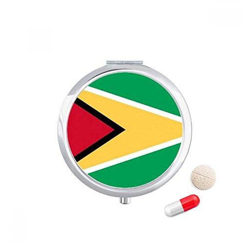 DIYthinker Guyana Nationale Vlag Zuid-Amerika Land Reizen Pocket Pill case Medicine Drug Opbergdoos Dispenser Spiegel Gift