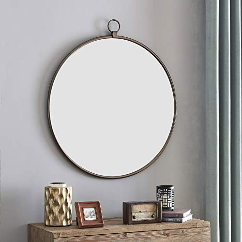FirsTime & Co. White Marshall Round Mirror, American Designed, Bronze, 32.5 inches (70248)