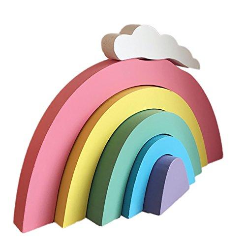 Wingbind Rainbow Bloques de construcción, estilo nórdico, hecho a mano, para el hogar, dormitorio, fiesta, boda, cumpleaños, guardería, cuna, baby shower decoración colgante