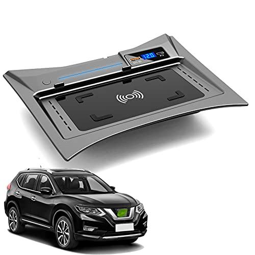 JUSTGJS Cargador inalámbrico para Coche Compatible con Nissan Rogue 2014-2021 Panel de Accesorios de Consola Central, Qi 15W MAX, con QC3.0 USB Compatible con iPhone, Samsung, Puerto USB