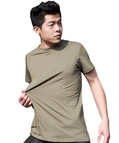 YuanDian Homme été Décontracte 100% Coton Tactique De Plein Air T-Shirts Entraînement Manches Courtes Séchage Rapide Respirant Militaire Style Haut Chemises Armée XL