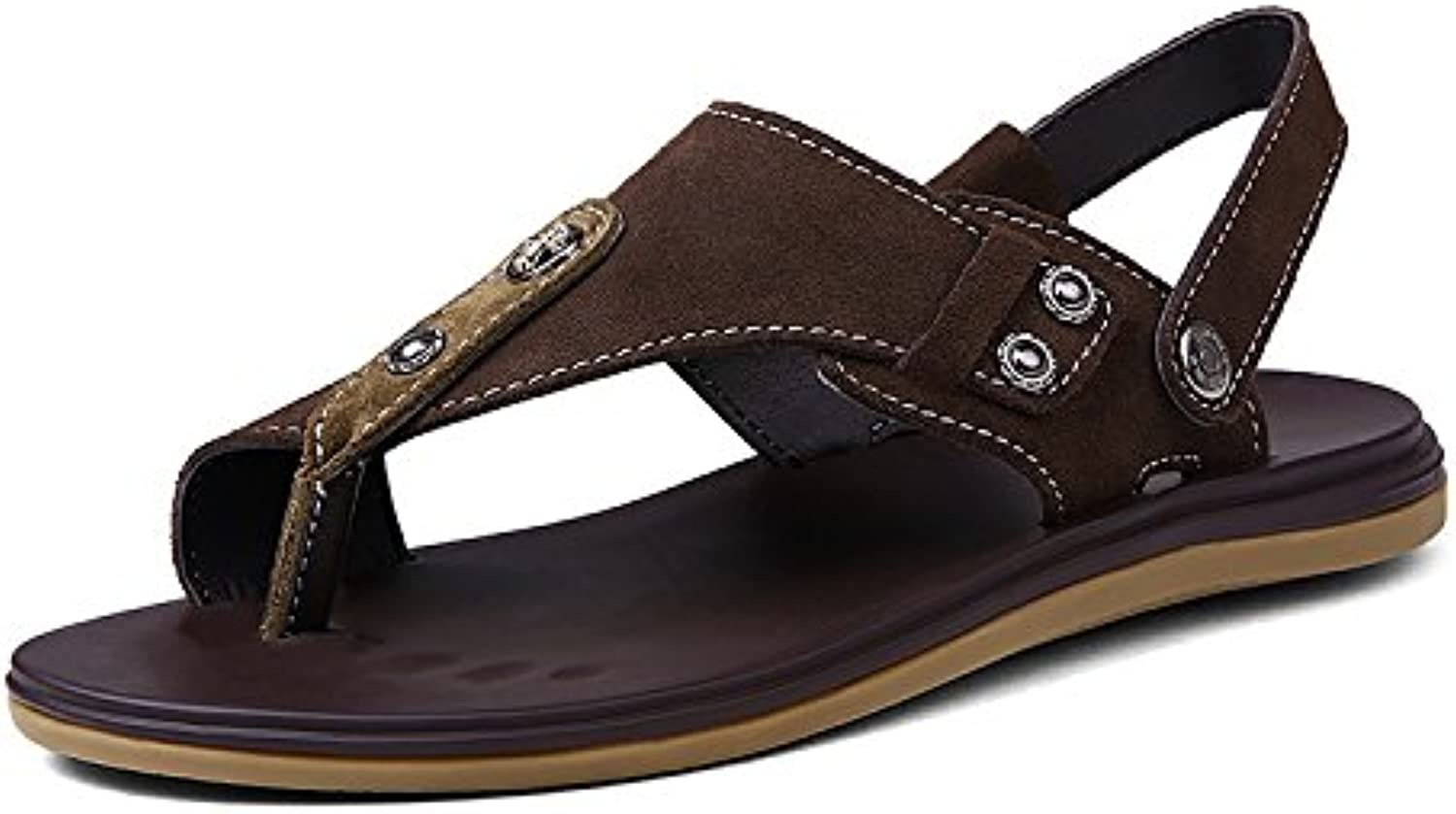 FYios Sandals, leather, teenagers, summer leather sandals, non slip casual shoes