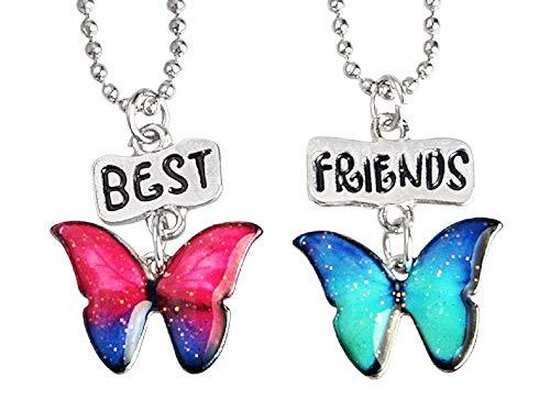 Twee meisjes kettingen - vriendschap - kawaii x 2 - beste vrienden voor 2 - paar - bff - vlinder - veelkleurig - kerstmis - origineel cadeau idee best friends