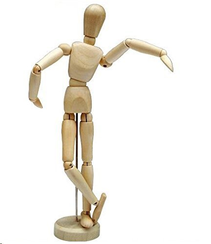 HSOMiD 12'' Artists Wooden Manikin Jointed Mannequin Perfect for Home Decoration/Drawing The Human Figure (A)