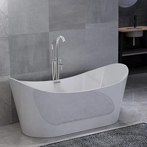 UnfadeMemory Freistehende Badewanne mit Wasserhahn Acryl-Badewanne Badezimmer Wanne Eckbadewanne Design Dusch Standbadewanne aus Sanitäracryl Weiß (Tpy D-1-204 L 118,5cm Silbern)