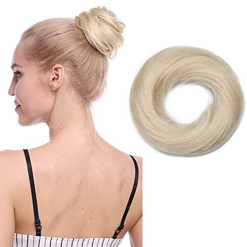 Chignon Capelli Veri Extension Elastico Effetto Naturale Voluminoso Capelli Lisci Magic Hair Bun Coda Updo Crocchia 25g #60 Biondo Platino