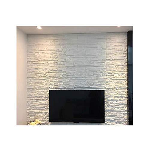 Papel Tapiz 3D Piedra de simulación Azulejos blancos DIY Pegatina de pared de bricolaje 70 * 77cm Ladrillo de imitación Papel tapiz de ladrillo impermeable Paneles de pared de espuma de grano para sal
