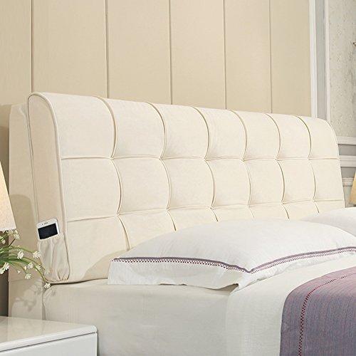 Home Pillow Piel cabecero Respaldo Posicionamiento Soporte Diario Cama Almohadilla de la cuña con cabecero (Color : Beige, Size : 150 x 10 x 60cm)