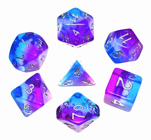 HD DND Dice Set,Aurora Dice RPG Polyhedral Dice Fit Dungeons and Dragons(D&D) Pathfinder MTG Tabletop Role Playing Dice with Silver Glitter (Purple-Blue Aurora)