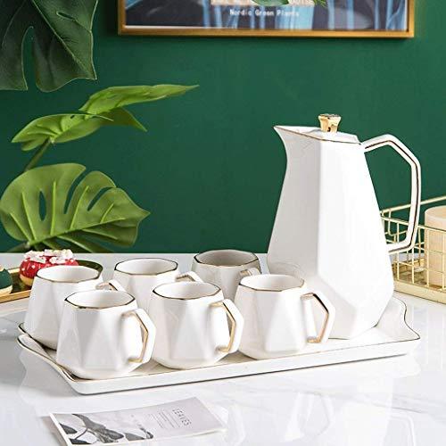FGDSA Ceramic Coffee Tea Set Northern Europe Phnom Penh Multicolor Afternoon Tea Pot Cup Tray Set Home Kitchen Decoration Ornaments (Color : Pink)