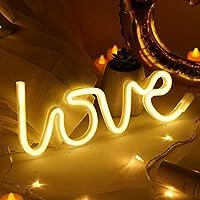 愛の形をしたネオンサイン、ABLINはネオンライト、壁の装飾的なナイトライトバッテリー、家の装飾のためのUSB電源 (暖かい白)