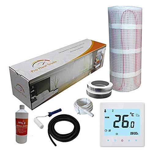 Nassboards Premium Pro - Kit de Calefacción Eléctrica Caja Amarilla Por Suelo Radiante de 200 W - 4.0m² - Termostato Blanco WiFi Inalámbrico