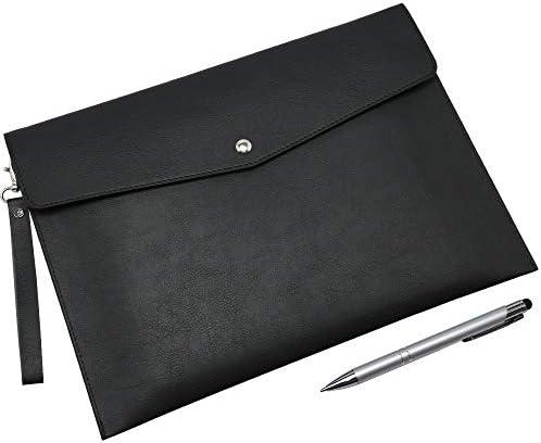 Wonderpool A4 Premium Faux Leather Envelope Documents Multifunction Folders Stationery Bag Portfolio product image