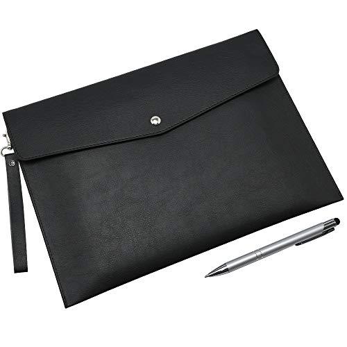 Wonderpool A4 PU Leder Umschlag Dokumente Multifunktion Ordner Schreibwaren Tasche Portfolio Datei für Papier Briefe Organizer und Tablet Hülle PC Sleeve (Schwarz)