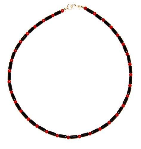 Onyx Schmuck (Halskette) Onyx Kette Onyx Walzen mit Koralle Kugeln Verschluss 925er Sterling-Silber Modellnummer 4436