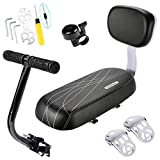 CenterZ Bike Rear Seat Cushion with Safety Backrest + Backseat Armrest Handrail + Foldable Hidden Bicycle Footrests + Handlebar Bell (Universal Cycling Kit with Installing Repairing Tools Set), Black