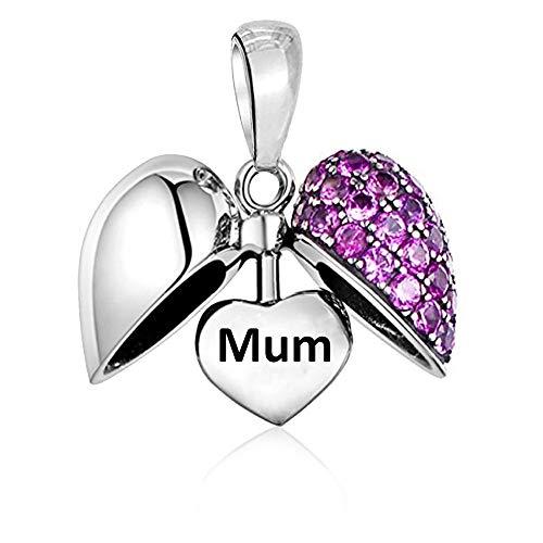 LSDesigns Mum Charm con Forma de corazón Abalorios para Mujer Pandora Charm Pulsera - Plata de Ley 925 dijes - Mamá Madre