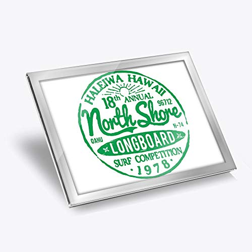 Destination Vinyl ltd Silver Glass Placemat 20x25 cm - Hawaii North Shore Longboard Surf Workplace/Table Mat/Dining Mats/Wipeable/Waterproof #5486