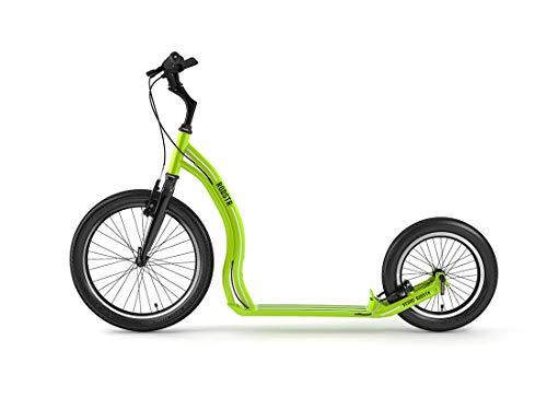 Yedoo Rodstr Tretroller - bis 150 kg, Kickscooter mit Luftreifen 20/16 - Roller Scooter für Erwachsene aus Aluminiumlegierung mit verstellbaren Lenker, Dogscooter, Gewicht 7,4 kg, grün/schwarz