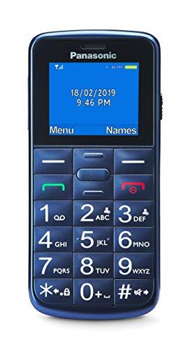 Panasonic KX-TU110EXC- Teléfono Móvil Para Personas Mayores (pantalla y teclas grandes, botón SOS, Resistente a Golpes, Linterna, Batería 22h)- Color Azul