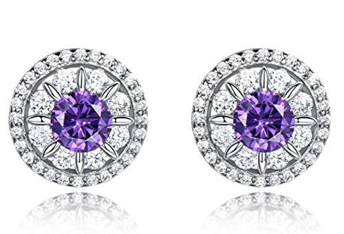XIRENZHANG Pendientes para mujer con circonita, piedras preciosas, diamantes, cortos, temperamento, color morado