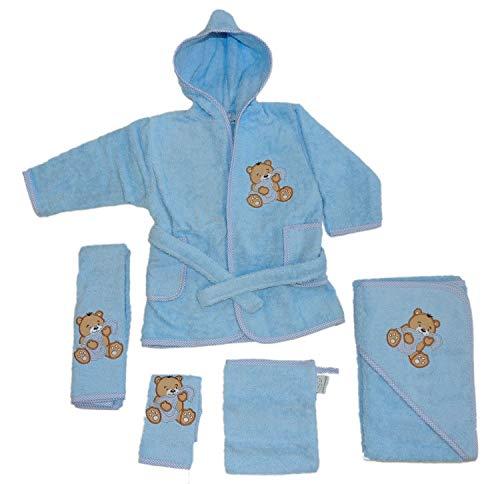 Fuchs seit 1895 Baby Handtuch Set mit Bademantel Bären Motiv 5-tlg. 100% Baumwolle in versch. Farben, Farbe:blau
