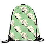 Lawenp Plegable Mint Julep Vintage Art Deco Blooms Pattern Drawstring Bag, Sports Cinch Sacks String Drawstring Backpack for Picnic Gym Sport Beach Yoga