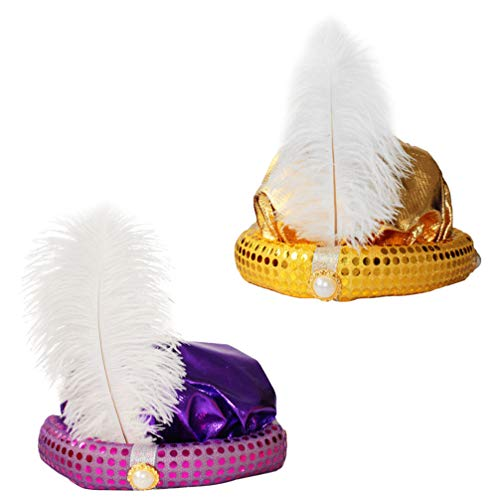 TOYANDONA 2 piezas de sombrero de aladdin turbante con plumas para el pelo de Halloween, disfraz de Halloween para nios adultos (morado dorado)