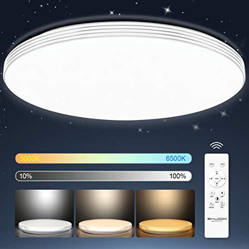 Led Deckenleuchte Dimmbar mit Fernbedienung 24W, Sternenhimmel Deckenlampe für Schlafzimmer Kinderzimmer küche Wohnzimmer, Rund Flach 40cm