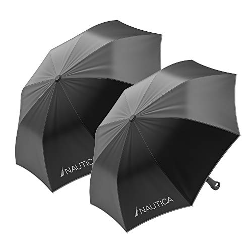 2-Pack Nautica Umbrella for Travel - Auto Open Compact, Lightweight & Folding - Best Windproof Umbrellas for Rain, Sun & Wind Protection, Small, Automatic & Collapsible in Black