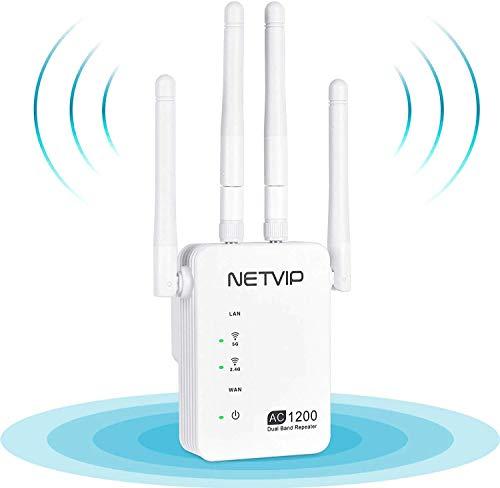 NETVIP WiFi Repetidor 1200Mbps WiFi Amplificador Repetidor de Red WiFi Banda Dual (300Mbps en 2,4GHz y 867Mbps en 5GHz) Punto de Acceso WiFi, Puerto Ethernet, Alta Gain Antenas Externas