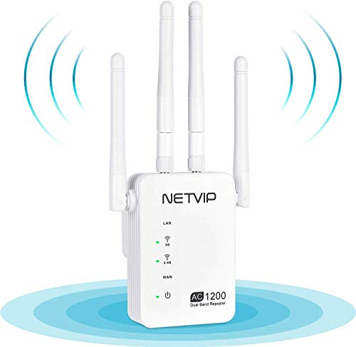NETVIP WLAN Repeater Dual Band AC1200 WLAN Verstärker 1200Mbit/s,WLAN Repeater/Router/Wireless Access Point Modus,Plug & Play, 2 Ethernet Ports WLAN Repeater Signal kompatibel mit Allen WLAN Geräte