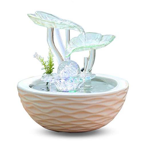 Whinop Fonte de Agua Decoracion e Iluminación LEDCascada Adorno para Decoración del Hogar Cascada de Meditación Zen 23.5x23.5x25cm