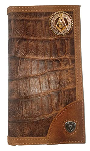 Custom Ariat Masonic Square and Compasses Long Gator Print Leather Wallet