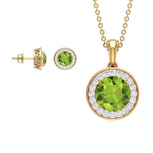 Juego de joyería redonda de peridoto verde de 4,23 quilates, pendientes de halo de diamantes, colgante y pendientes de peridoto, collar y pendientes de piedra natal de agosto (calidad AAA) verde