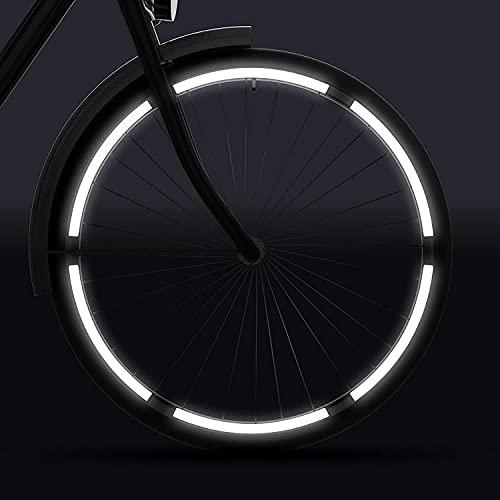 velota 3M Fahrrad Reflektoren für Kinderfahrrad (12, 14, 16 oder 20 Zoll) [WEIß] - Selbstklebende Reflektorstreifen - 12 reflektierende Streifen im Set