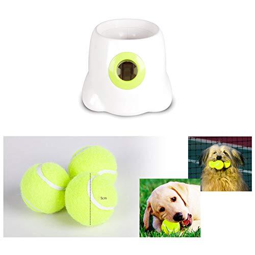 Fuitna - Juguete interactivo para perro, lanzador automático de bolas de tenis para mascotas, para entrenar y jugar, 3 bolas incluidas