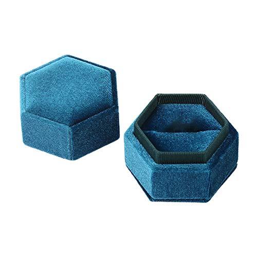 Portatil de terciopelo retro para anillos, organizador de collares, caja de almacenamiento hexagonal de regalo