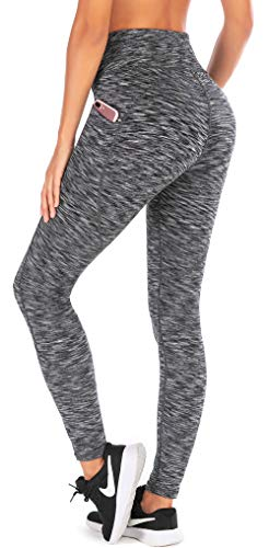 Ewedoos Yoga Pants for Women with Pockets High Waisted Leggings for Women Workout Leggings with Pockets Womens Leggings (Space Dye Darkgray, Small)