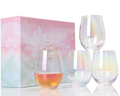 Wine Glasses - Large Red Wine or White Wine Glass Set of 4 - Wine Gifts for Women,Her,Sister,Daughter,Mom,Wedding,Anniversary,Birthday,Christmas - 17oz Stemless Wine Glass