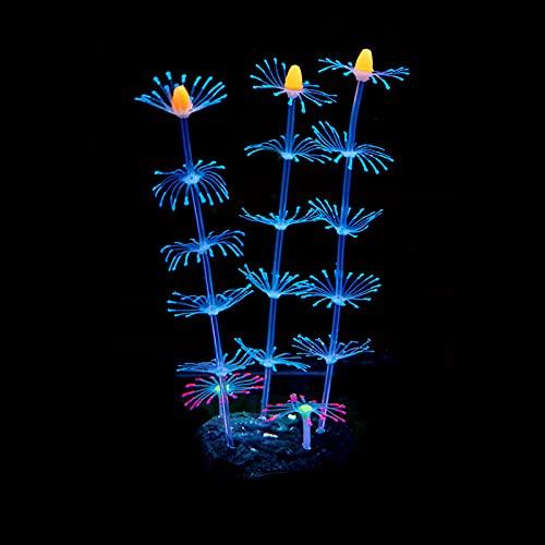 Aquarium Kunststoffpflanzen Künstliche Wasseranlagen Aquarium Dekoration Leuchtende Silikon Weiche Korallensimulation Plastik Gefälschte Wasserpflanzen Kunststoffpflanzen für Aquarien ( Color : Blue )
