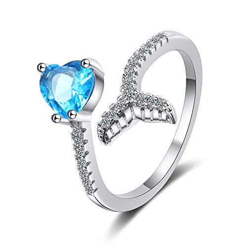QIAMNI Anillo de plata 925 con forma de corazón azul con diamante para mujer, adolescente, niña, moda, dulce, abierto, ajustable, elegante, decoración delicada