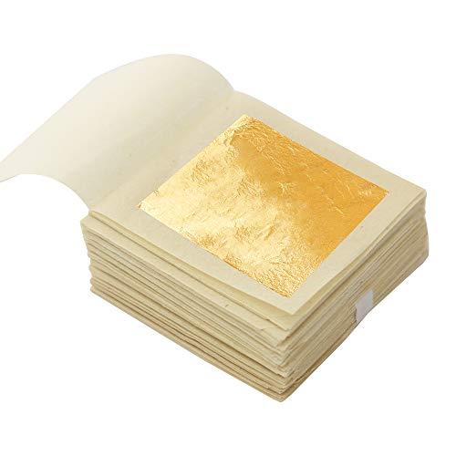 KINNO Echte Blattgold Essbar 24 Karat Goldfolie 4.33 * 4.33cm zum Basteln Lebensmittel Kuchen Backen Torten Dekorfolie Kunsthandwerk 10 Blatt