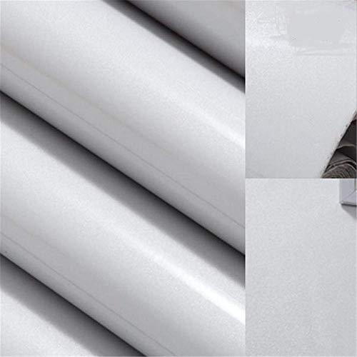 Etiqueta Engomada De Papel Pintado PVC Impermeable Autoadhesivo Brillo Etiqueta Para Cocina Armario Puerta Mesa Escritorio Muebles Armario (Blanco 60cm*5m)
