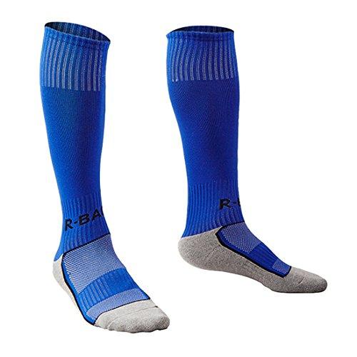 Yohope Unisexe Haut rayé Sports Football/Soccer/Hockey Tube Coton Chaussettes pour Les Enfants 8-13 Ans (Bleu)