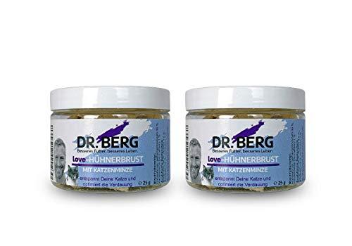 Dr. Berg Love-HÜHNERBRUST mit Katzenminze: getreidefreies & gesundes Leckerli für Katzen - extra verträglich und lecker durch natürliche & hochwertige Zutaten (2 x 25 g)